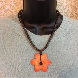 Jewelry - Wood beads and orange flower necklace